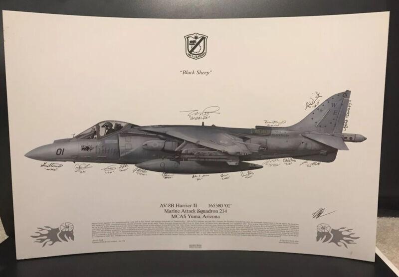 Signed USMC Litho VMA-214 Black Sheep AV-8B Harrier Attack Squadron Marines