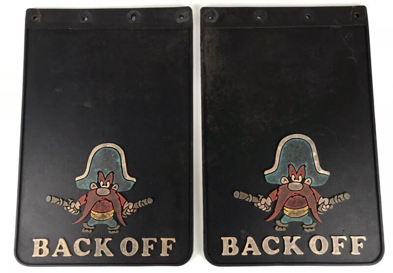 """Vintage 1976 Warner Bros Yosemite Sam """"Back Off""""  12"""" X 18"""" Rubber Mud Flaps"""