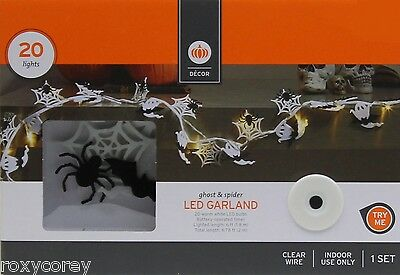 Halloween Garland With Lights (Halloween 20 Ghost & Spider LED Garland Lights Clear Wire Indoor Use 6 ft)