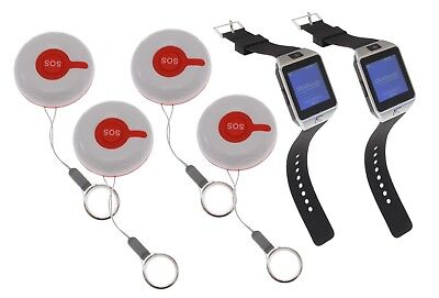 Pager-kit (Care Twin Watch Pager Kit & 4 x Wireless Push Button helps you Care for People )
