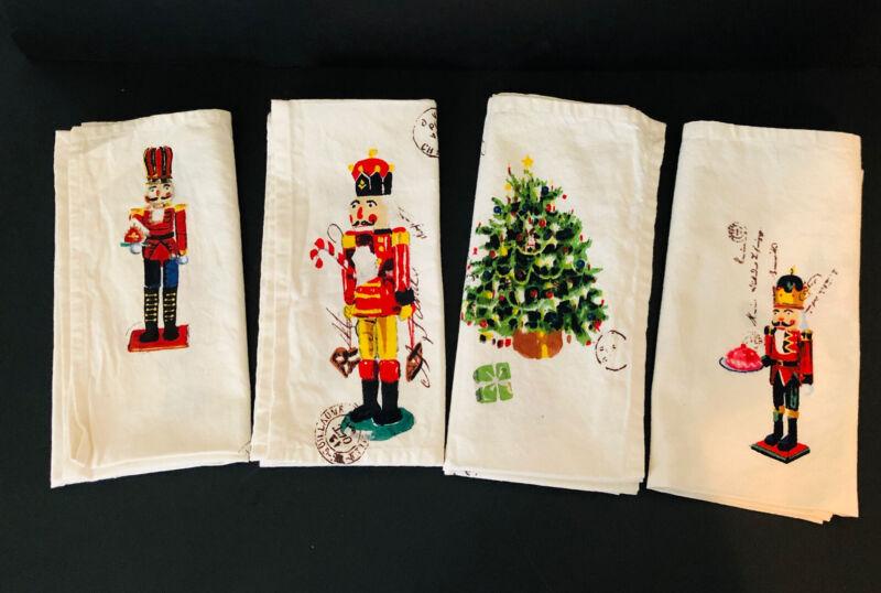 4 Nutcracker Christmas Cloth Napkins William Sonoma Discontinued New w/out tag