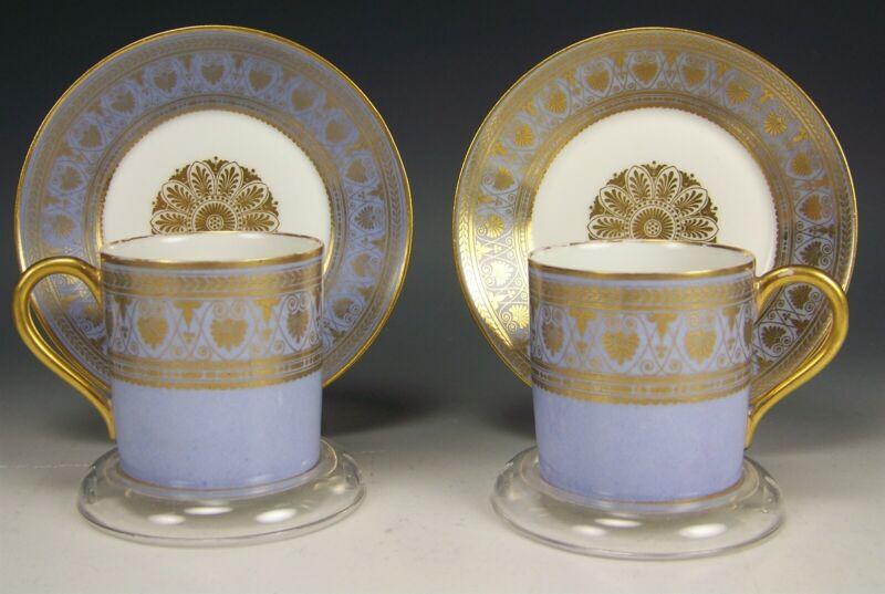 2 SEVRES FRANCE GOLD DEMITASSE CUPS SAUCERS
