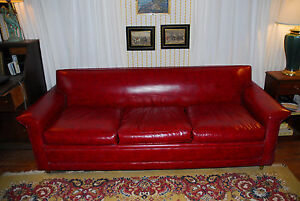 Retro Castro Convertible Sofa Pull Out Bed Red Vinyl Full