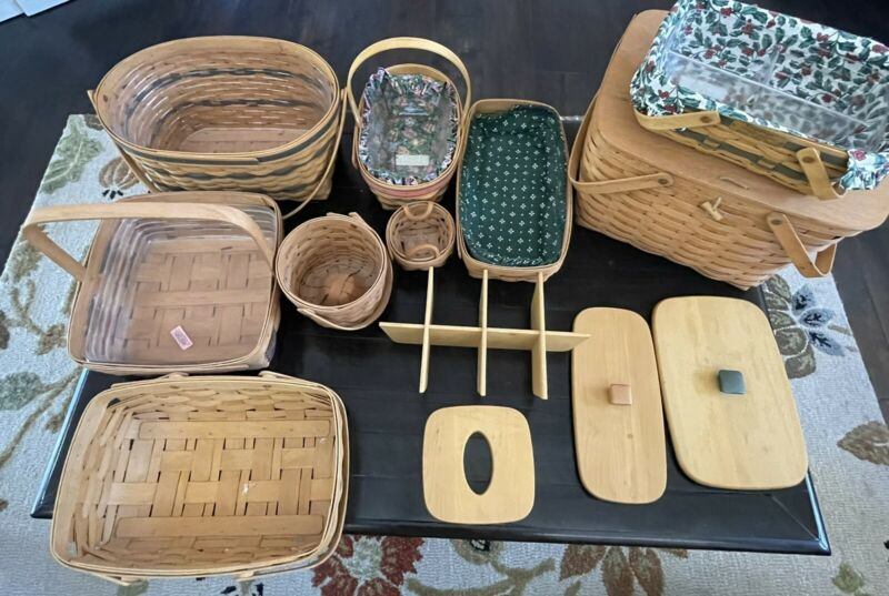 Lot of 9 Longaberger baskets liners protectors And Lids.  Includes Large Picnic