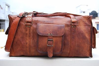 New Men's duffel genuine Leather Big vintage travel gym weekend overnight bag