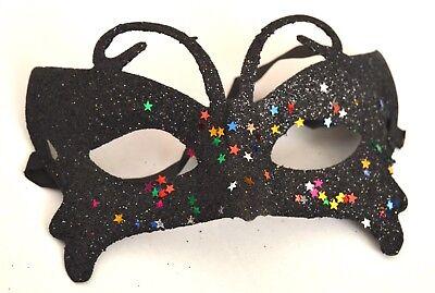 glitter Masquerade Mask Eye Gothic halloween fancy dress (Black Butterfly Mask)