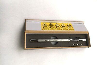 3in1 Metall Kugelschreiber Laserpointer Zeigestab mit Ihrer Gravur in Holzbox