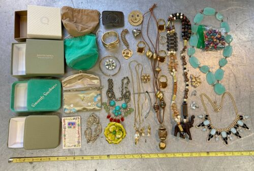 mixed lot of JEWELRY & boxes ELEPHANT stone BEADS bracelet NECKLACE PINS earring