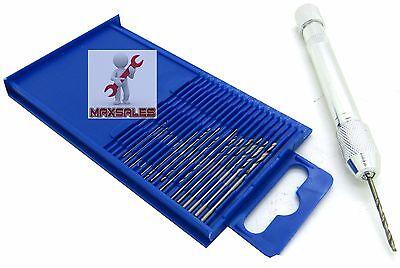 21PC Mini Drill Set Small Aluminum Hand Drill Wire Drills Sizes 61-80 w/ Case