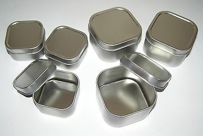 3X 4 oz & 8 oz Square Slip On Lid Survival Craft Use New Metal Tin Box Container ()