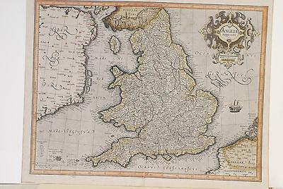 Anglia Regnum Map  Judocus Hondius  1606  Has Older Repair  Orig  Coloring