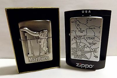Marlboro Zippo Lighter Collection  1 Lot Of 2 Big M Longhorn   Utah Chrome  New