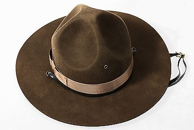 Military Campaign Hat Brown USMC Mens Adult Drill Sergeant Hats All Sizes