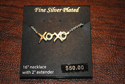 "NEW 16"" Fine Silver Plated Necklace XOXO with 2"" extender"