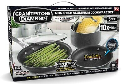 Granite Stone Diamond Ultimate Nonstick 5 Piece Kitchen Cookware Set – NEW!