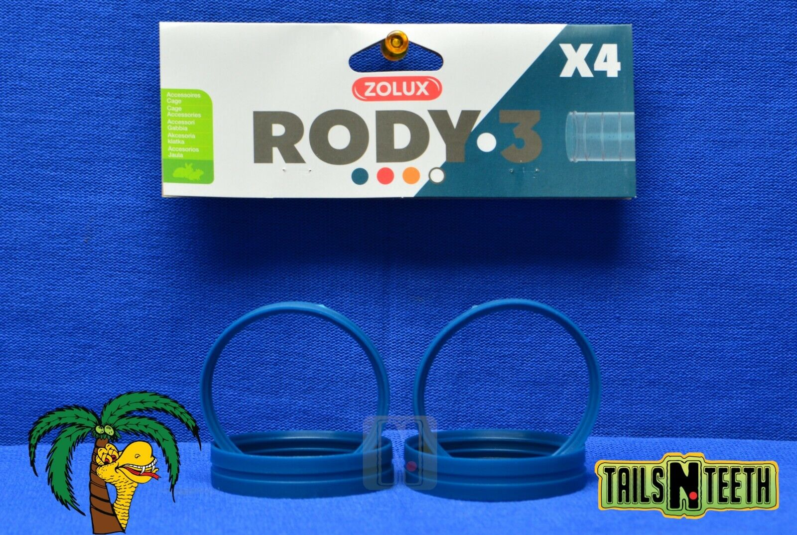 Zolux RODY-3 Connection Rings For Rody-3 InterConnecting Cages - 4 Pack - Blue - CA$3.99