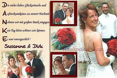 50 Danksagungskarten Hochzeit Danksagungen Fotokarte Hochzeitskarte Danke Foto (Danke-karte 50)