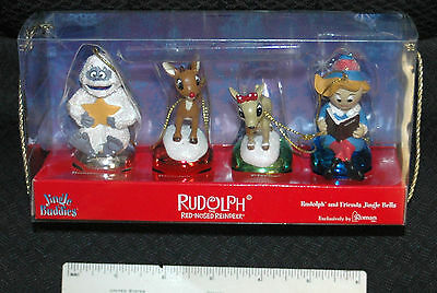 Rudolph The Red Nosed Reindeer Jingle Buddies Ornaments BY Roman, Set of 4 - NEW
