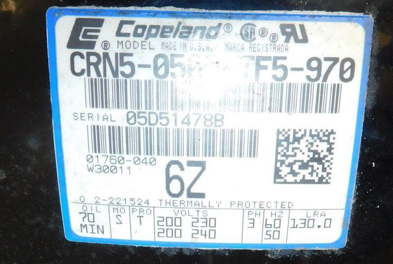 Copeland Scroll CRN5-0500-TF5-970 Compressor, 5T, 200-230V, 3 PH, R22 New