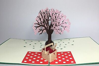 Cherry Blossom Picnic Day Pop Up Card. Love/Birthday/Valentines/Anniversary Card ()