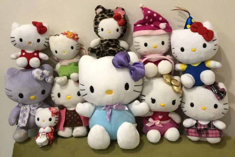 Lot Of 11 Vintage to Modern Hello Kitty Bean Bag Plush - TY Sanrio Smiles BABW