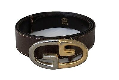 Rare vintage GUCCI Men's Brown Leather belt w Double G Gold & silver tone buckle