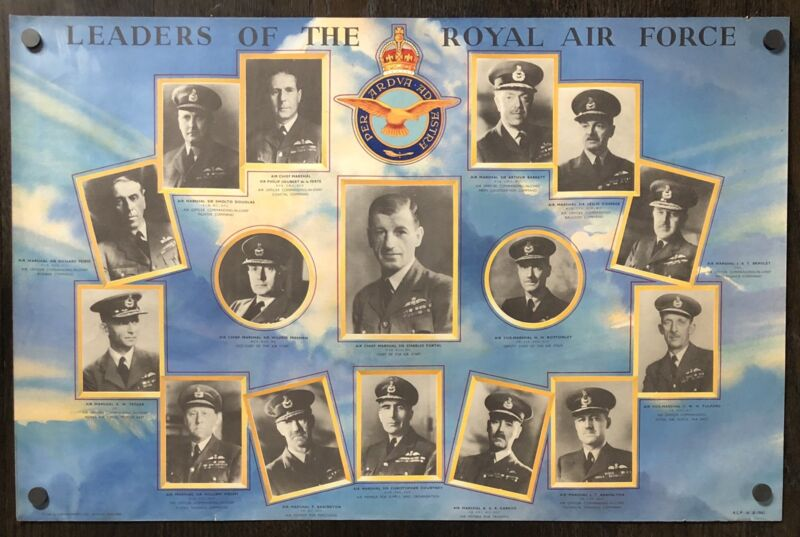 Original Vintage WWII Poster LEADERS OF THE ROYAL AIR FORCE British World War II