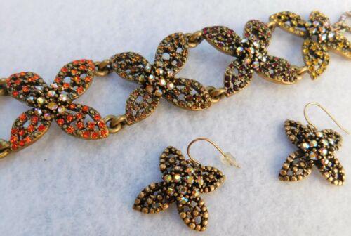 "Demi 8"" L Bracelet & Pair Earrings Pave Red Orange Amber Clear Stones Link"