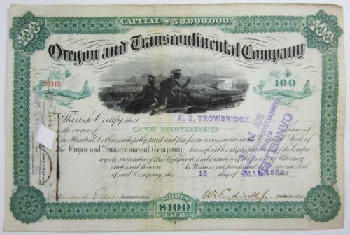 Antique Railroad Stock Certificate Oregon & Transcontinental Company 1884