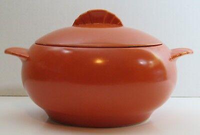 Caliente Tangerine Red Orange Shell Crest Paden City Casserole Bowl with Lid