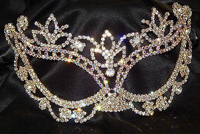 Gold W. AB Rhinestone Crystal Masquerade Mask Mardi Gras Party /Black Ribbon