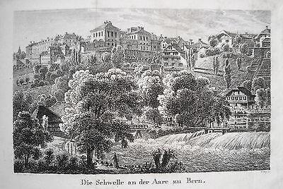 Bern  Schwelle an der Aare Schweiz seltener echter alter  Kupferstich 1820