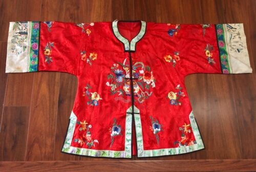 Fine Antique Qing Dynasty Red Silk Hand Heavily Embroidered Robe Figural Floral