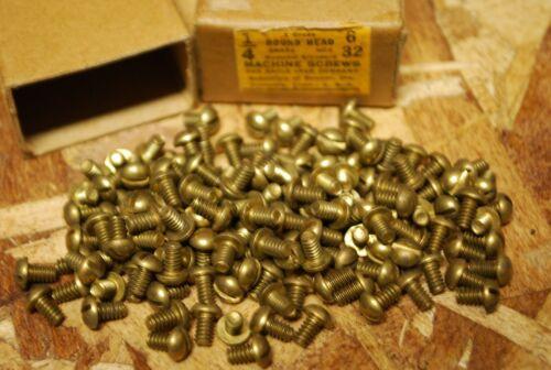 "Qty (143) 6-32 x 1/4"" Round Head Brass Machine Screws - Eagle - NOS w Box #bs19"