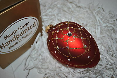 New Holiday Mouth Blown Glass FABERGE EGG Ornament RED GOLD Handpainted CRYSTALS