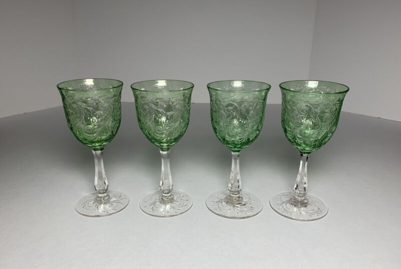 4 Matching Antique WEBB GLASS GREEN CUT TO CLEAR WINE GLASSES