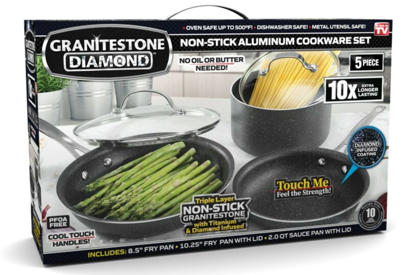 Granite Stone Diamond Ultimate Nonstick 5 Piece Kitchen Cookware Set – NEW! 1