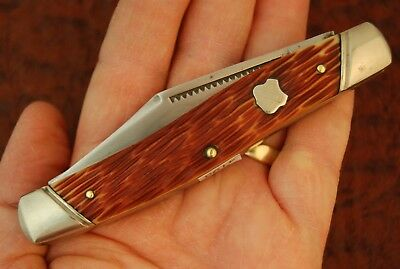 VINTAGE JOHN PRIMBLE USA FINEST STEEL JIGGED DELRIN 3 BLADE STOCKMAN KNIFE (4193