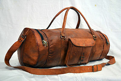 New Men's duffel genuine Leather Extra large vintage travel gym overnight bag