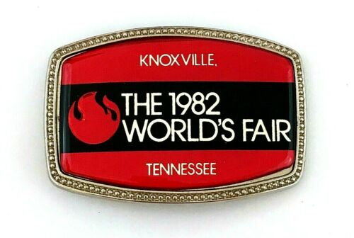 1982 Worlds Fair Knoxville Tennessee Flame Belt Buckle Enameled Metal Energy