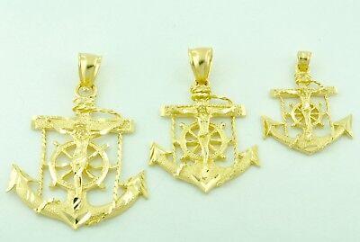 14k Solid Yellow Gold Jesus Crucifix Anchor Mariner Charm Pendant  3.5g-7.7grams