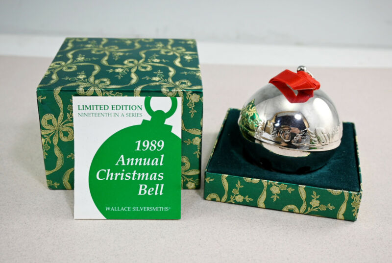 Wallace 1989 Annual Silver Christmas Sleigh Bell With Box