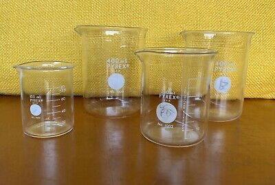 4 Vintage Pyrex Glass Beakers 400ml 250ml 100ml Chemistry