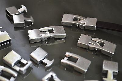 6 Cierres Zamak (A.10,6 x 3,4mm) gancho abalorios cuero cierre (CM-22) pulseras