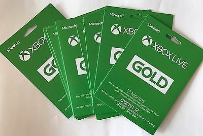 Microsoft Live12 Month Gold Membership Card for Xbox 360 / Xbox one