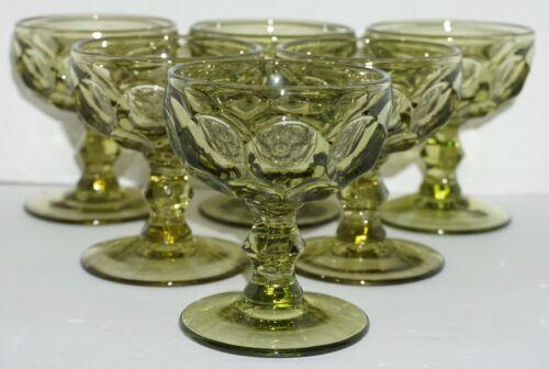Vtg Set 6 Imperial Glass Provincial Thumbprint Green Sherbet Champagne Glasses