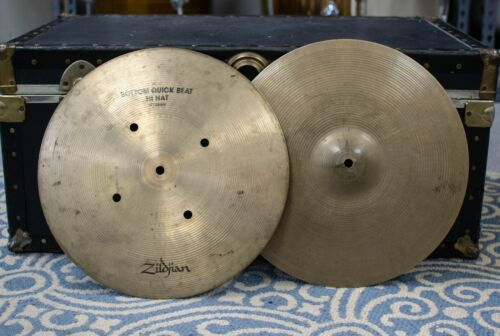 "1970s Zildjian 15"" Quick Beat Hi Hat Cymbals 1364g 1549g"