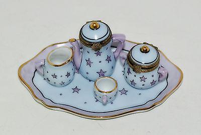 Limoges Box Eximious Miniature Tea Set Tray Tea Pot Sugar Creamer Cup Hinged