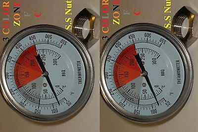 2 Bbq 3 Pit Smoker Grill Thermometer Temperature Temp Gauge Barbecue Heavy Nut