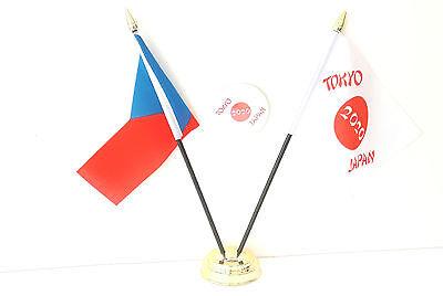 Czech Republic & Tokyo Japan Olympics 2020 Desk Flags & 59mm BadgeSet